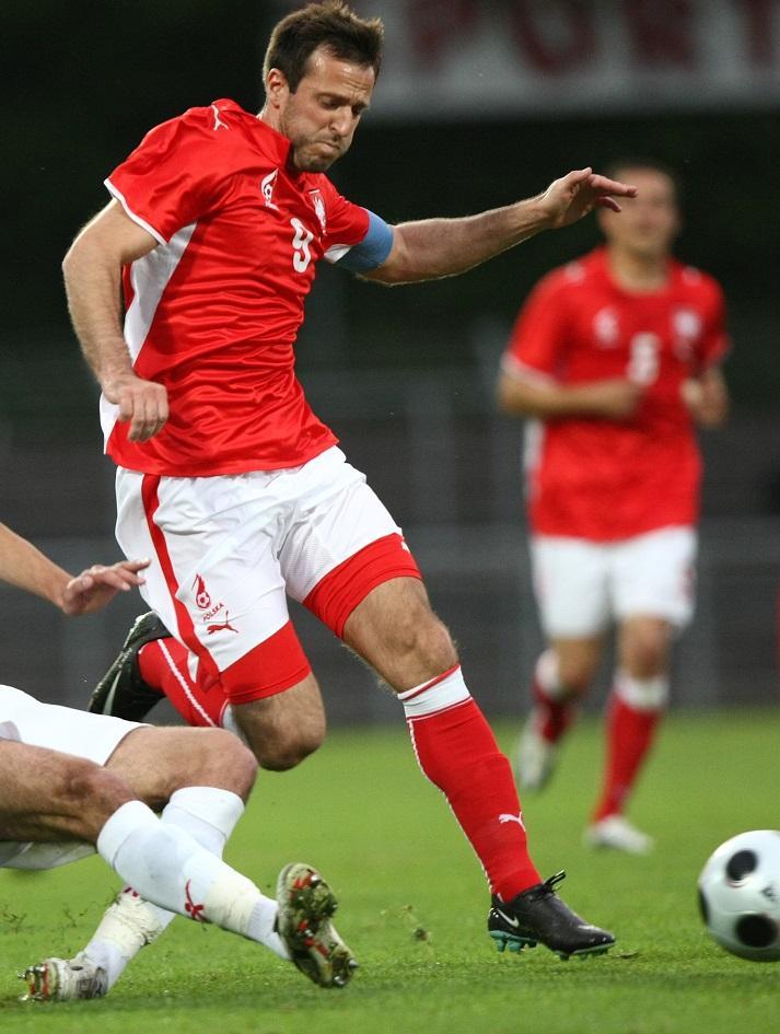 Maciej Żurawski podczas meczu z Albanią (27.05.2008).