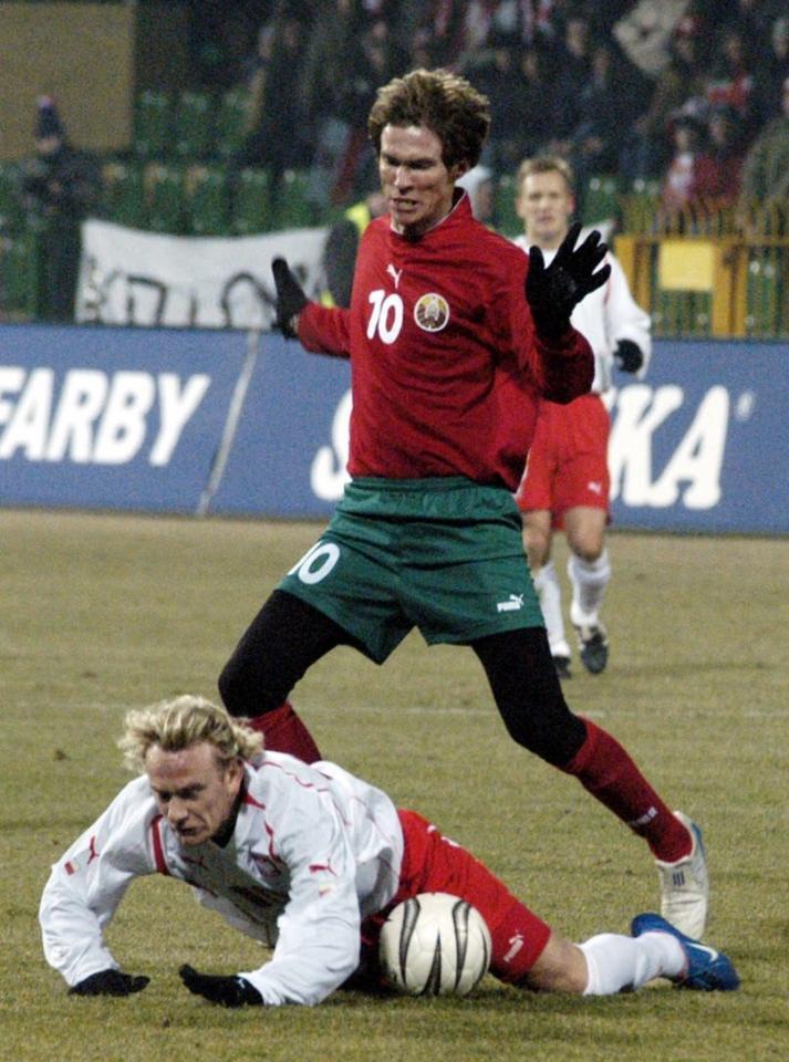 Aleksandr Hleb podczas meczu Polska - Białoruś 1:3 (09.02.2005).