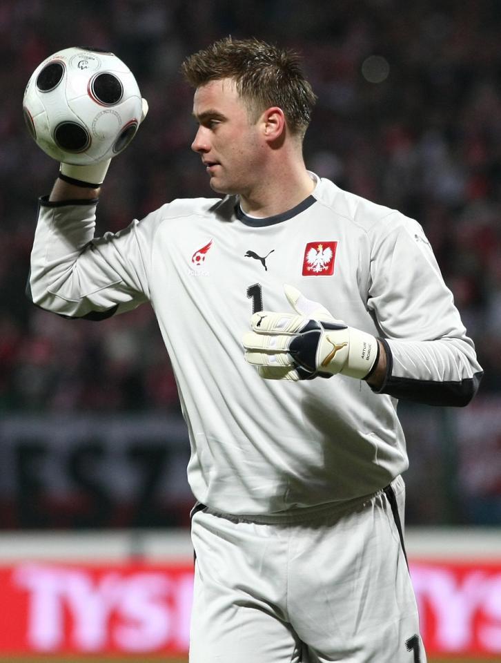 Artur Boruc podczas meczu Polska - USA 0:3 (26.03.2008)