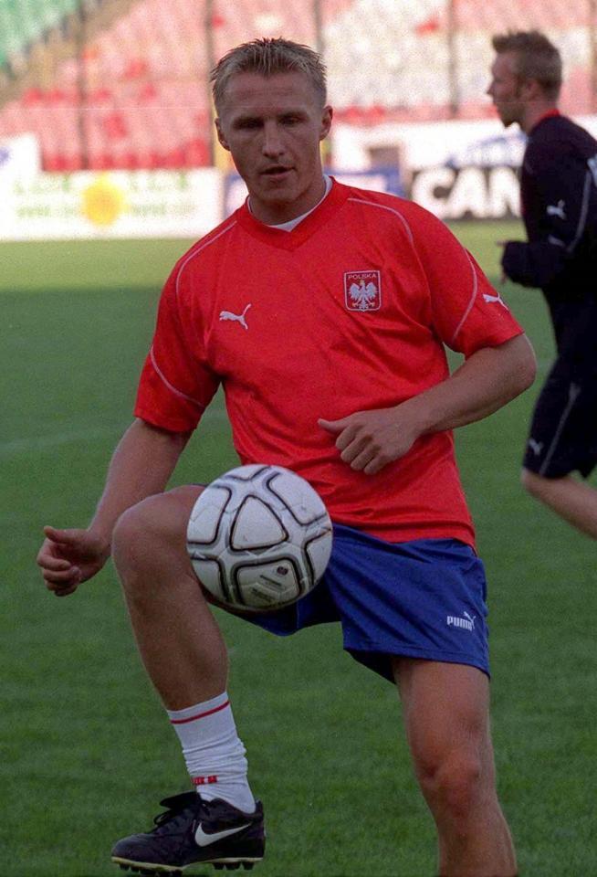 Bartosz Karwan podczas treningu reprezentacji Polski.