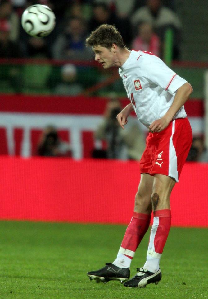 Grzegorz Bonin podczas meczu Polska - Litwa 0:1 (02.05.2006).