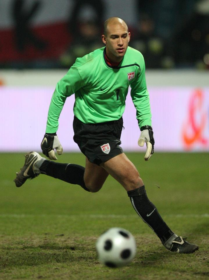 Tim Howard podczas meczu Polska - USA 0:3 (26.03.2008).