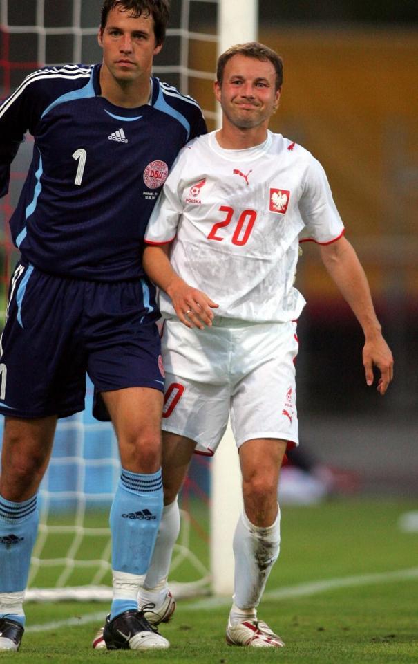 Tomasz Frankowski podczas meczu Dania - Polska 2:0 (16.08.2006).