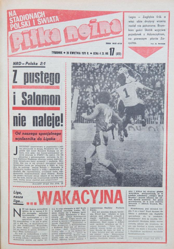 Okładka piłki nożnej po meczu NRD - Polska (18.04.1979)