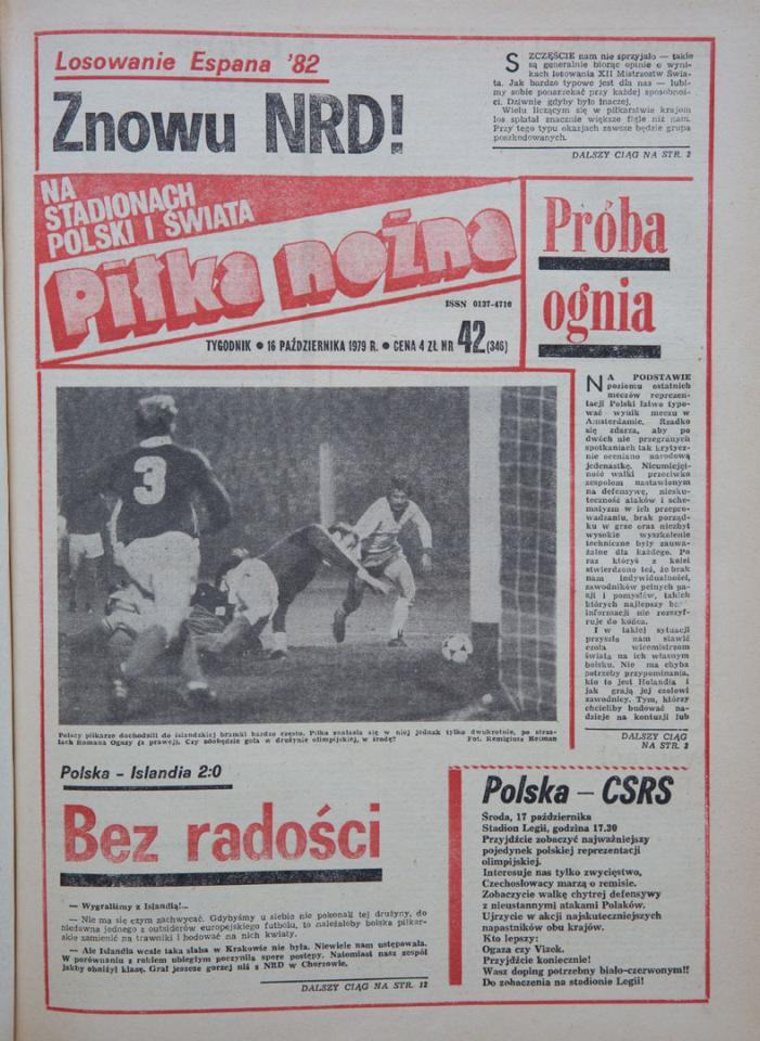 Okładka piłki nożnej po meczu polska - islandia (10.10.1979)