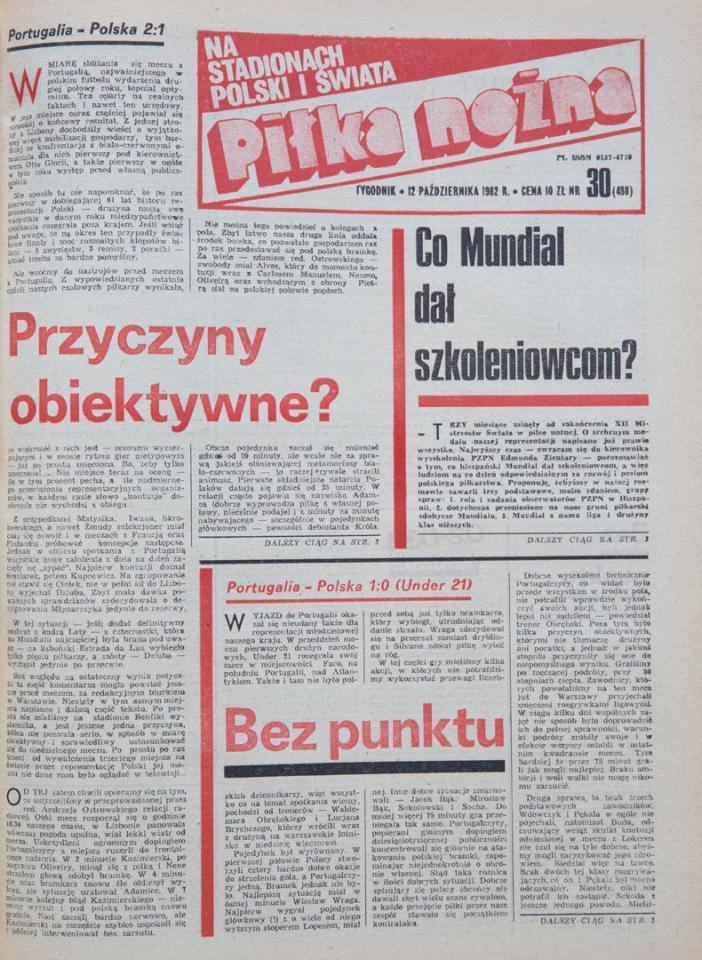 Okładka piłki nożnej po meczu portugalia - polska (10.10.1982)