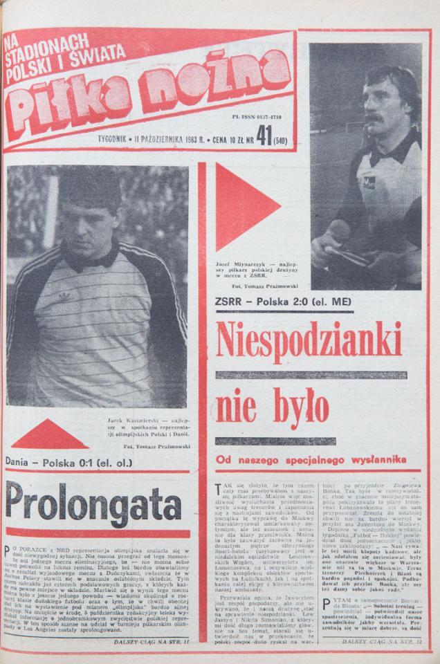 Okładka piłki nożnej po meczu zsrr - polska (09.10.1983)