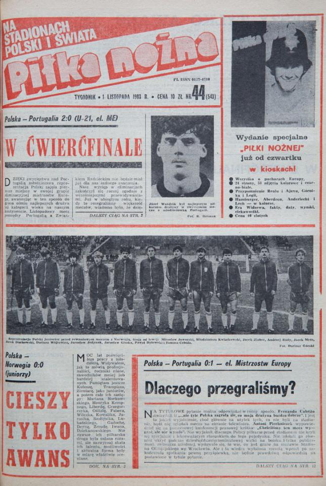 Okładka piłki nożnej po meczu polska - portugalia (28.10.1983)