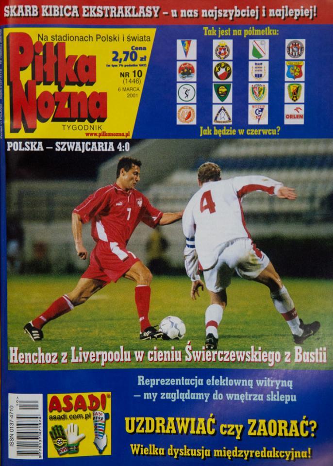 Okładka piłki nożnej po meczu polska - szwajcaria (28.02.2001)
