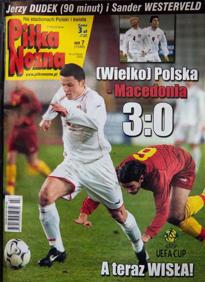 Okładka piłki nożnej polska - macedonia (14.02.2003)