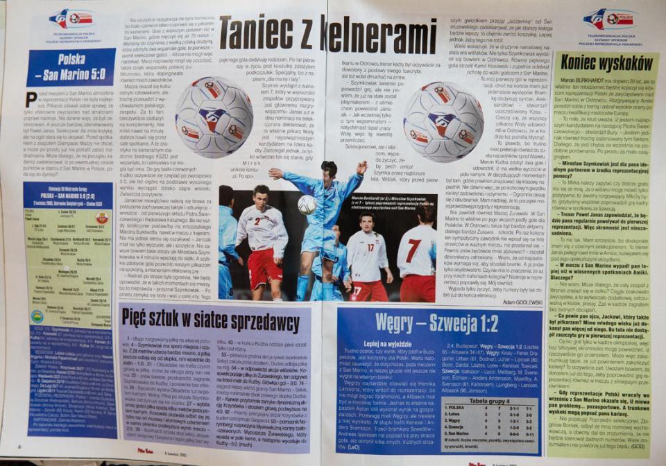 Piłka nożna po meczu Polska - San Marino (02.04.2003)
