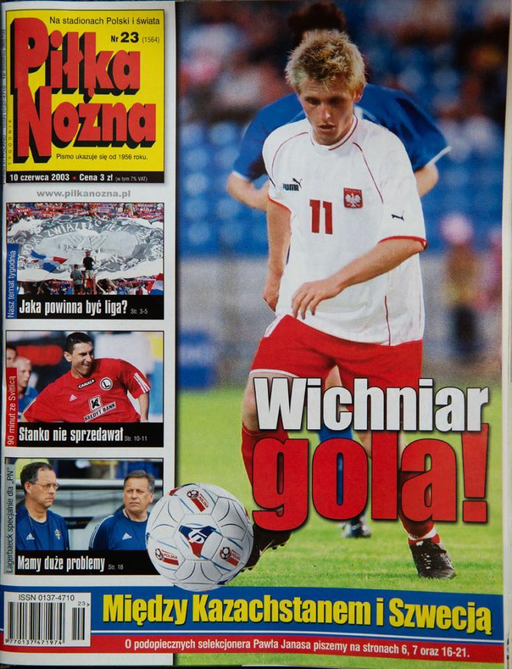Okładka piłki nożnej po meczu polska - kazachstan  (06.06.2003)