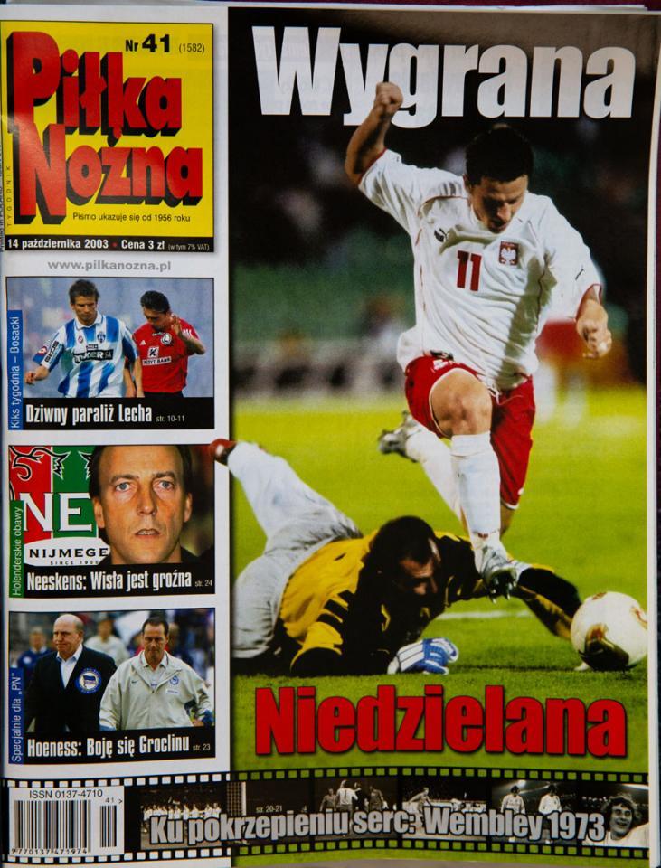 Okładka piłki nożnej po meczu węgry - polska (11.10.2003)