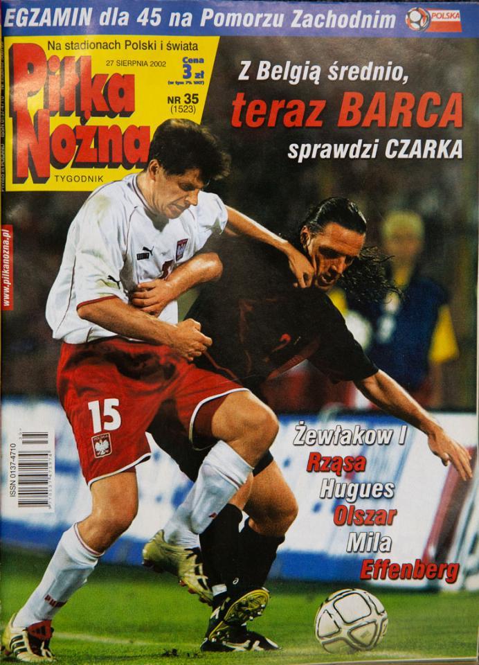 Okładka Piłki nożnej po meczu polska - belgia (21.08.2002)