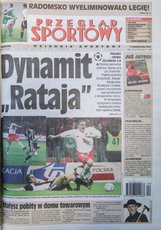 Okładka przeglądu sportowego po meczu polska - nowa zelandia (16.10.2002)