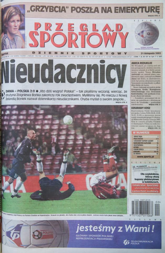 Okładka po meczu Dania - Polska (20.11.2002)