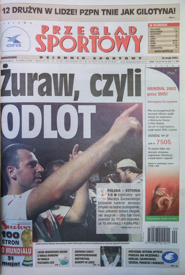 Okładka przeglądu sportowego po meczu polska - estonia (18.05.2002)