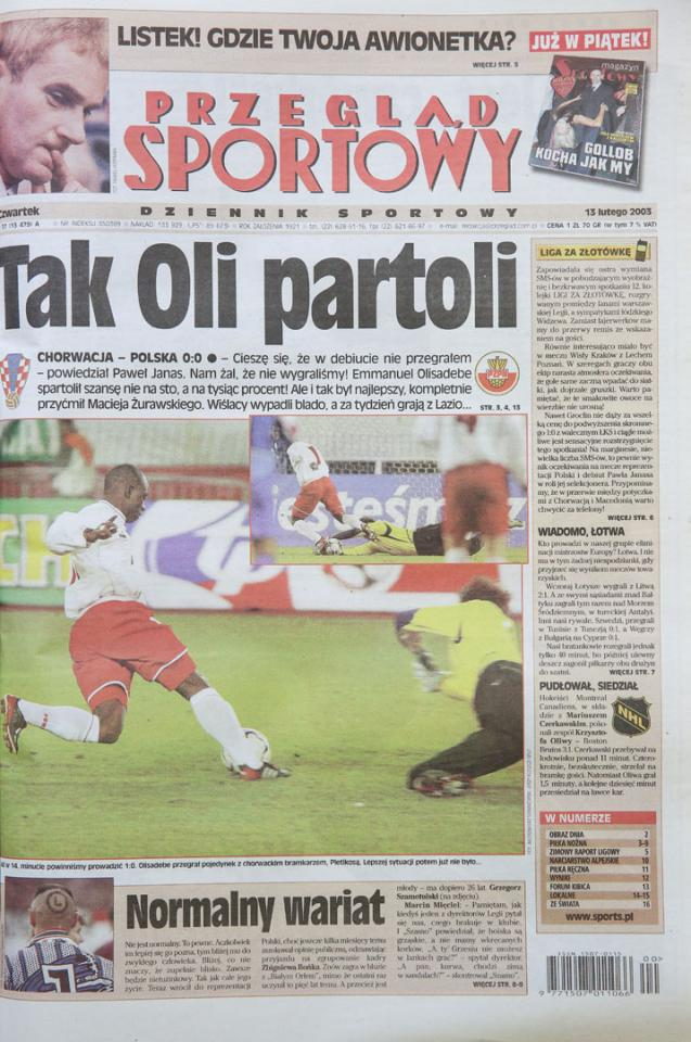 Okładka przeglądu po meczu Chorwacja - Polska (12.02.2003)