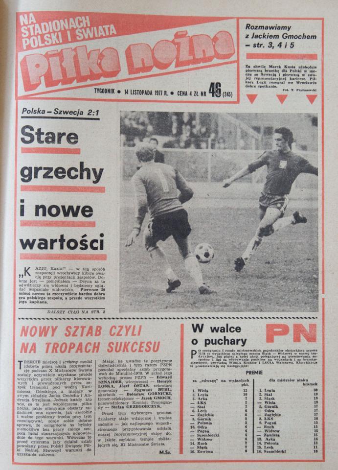 Okładka piłki nożnej po meczu Polska - Szwecja (12.11.1977)