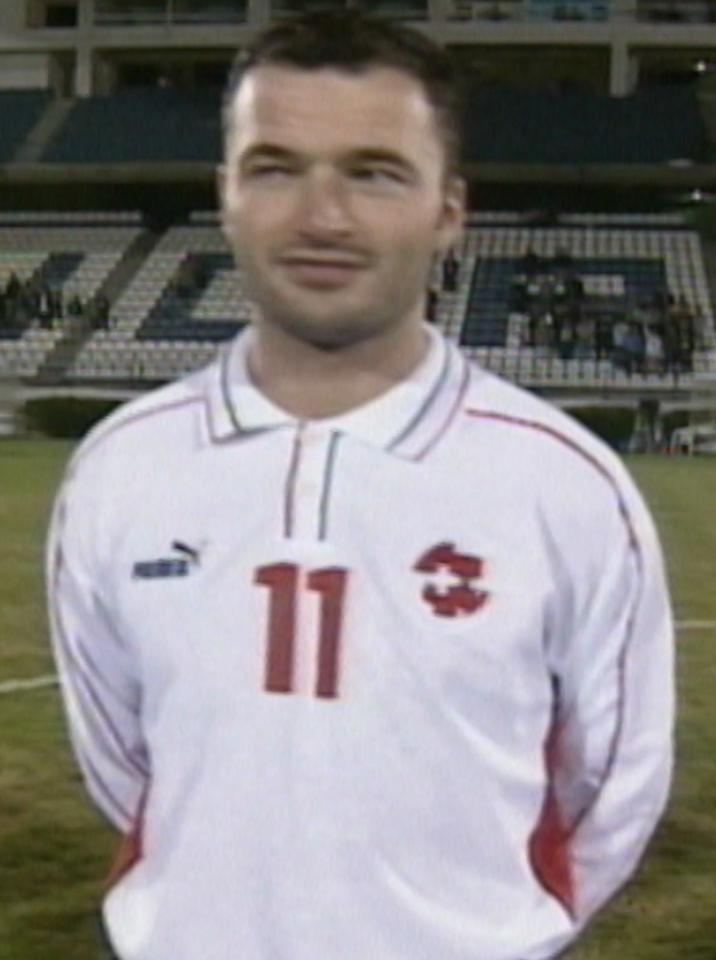 Stéphane Chapuisat przed meczem Polska - Szwajcaria 4:0 (28.02.2001).