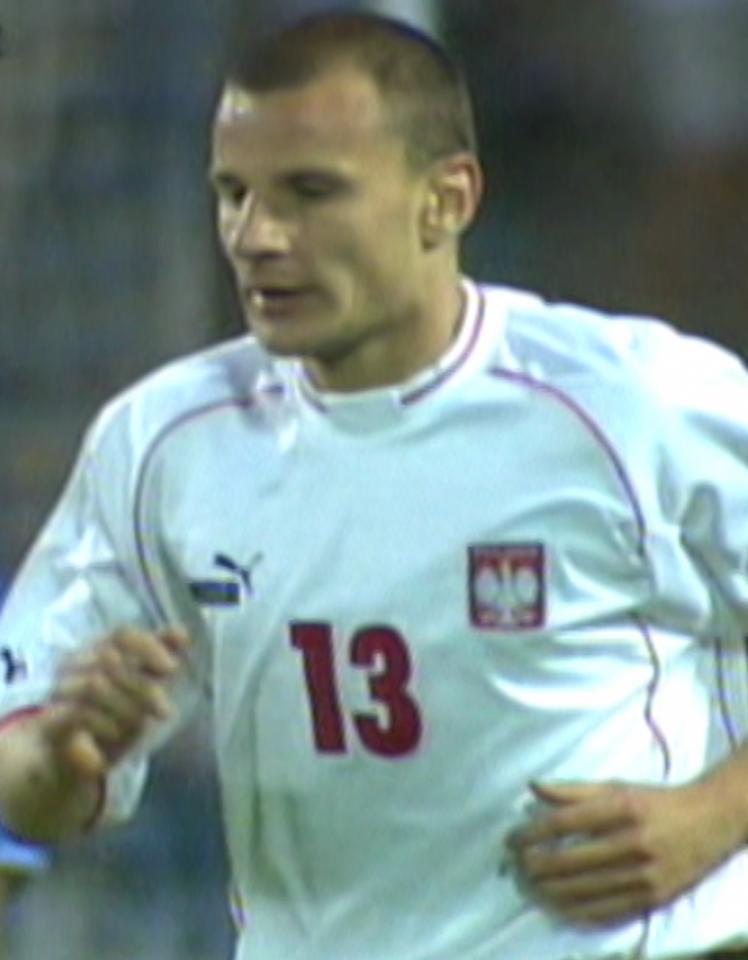Tomasz Dawidowski podczas meczu Polska - Kazachstan 3:0 (06.06.2003).