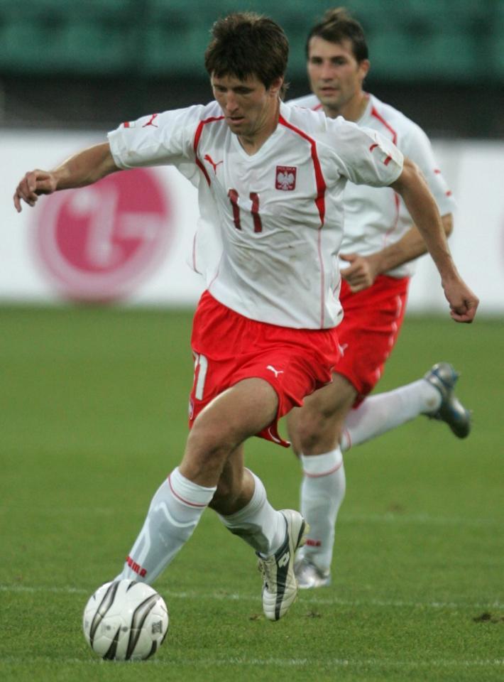 Grzegorz Rasiak podczas meczu Polska - Islandia 3:2 (07.10.2005).
