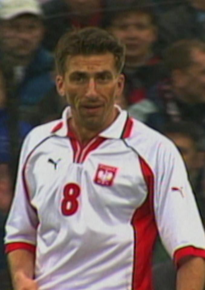 Tomasz Iwan podczas meczu Polska - Szkocja 1:1 (25.04.2001).