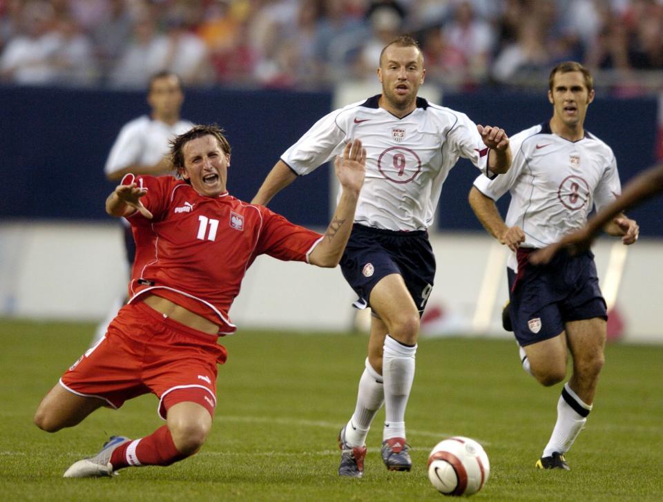 Michał Goliński podczas meczu USA - Polska 1:1 (12.07.2004).