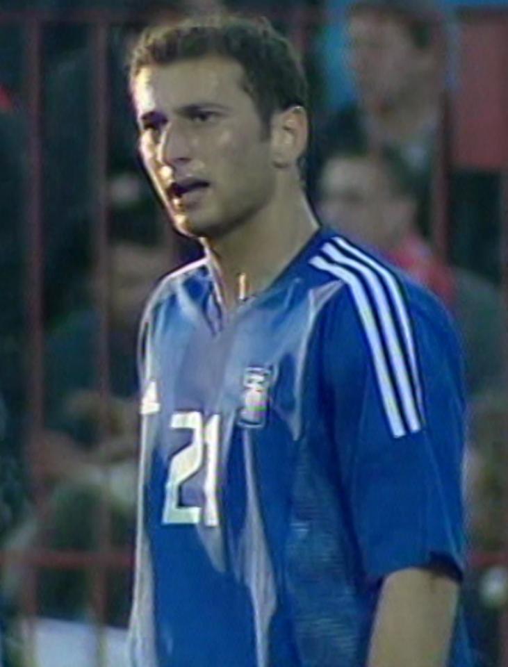 Dimítris Papadópoulos podczas meczu Polska - Grecja 1:0 (29.05.2004).