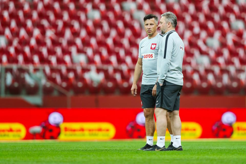 Radosław Gilewicz i Jerzy Brzęczek podczas treningu reprezentacji Polski.