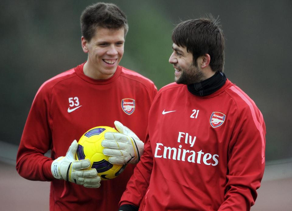 Wojciech Szczęsny i Łukasz Fabiański w barwach Arsenalu Londyn.