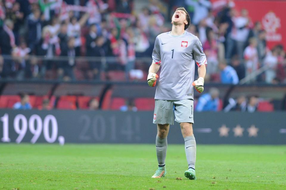 Wojciech Szczęsny podczas meczu Polska - Niemcy 2:0 (11.10.2014).