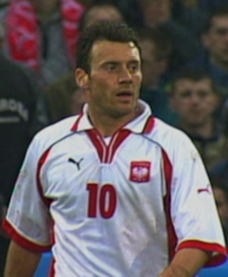 Tomasz Zdebel podczas meczu Polska - Szkocja 1:1 (25.04.2001).