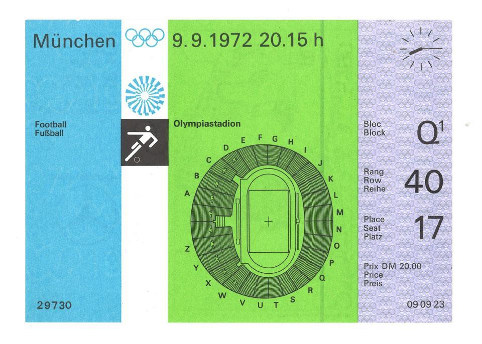 Oryginalny bilet z meczu Polska - Węgry (10.09.1972)