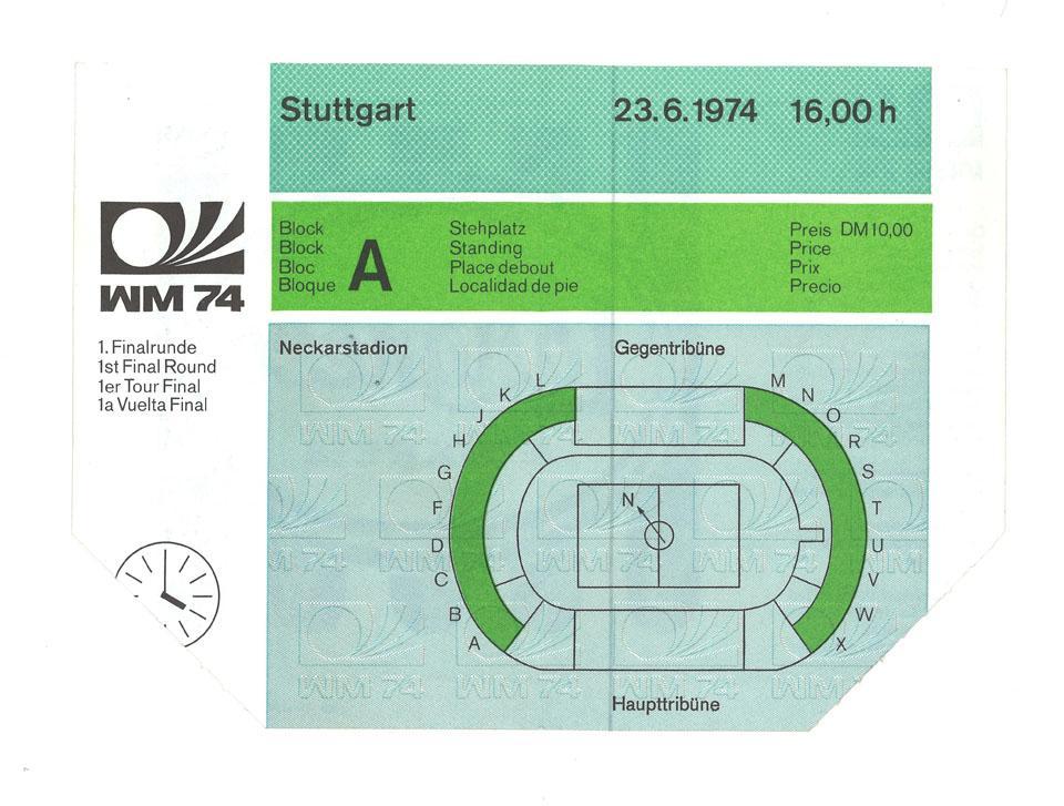 Oryginalny bilet z meczu Polska - Włochy (23.06.1974)