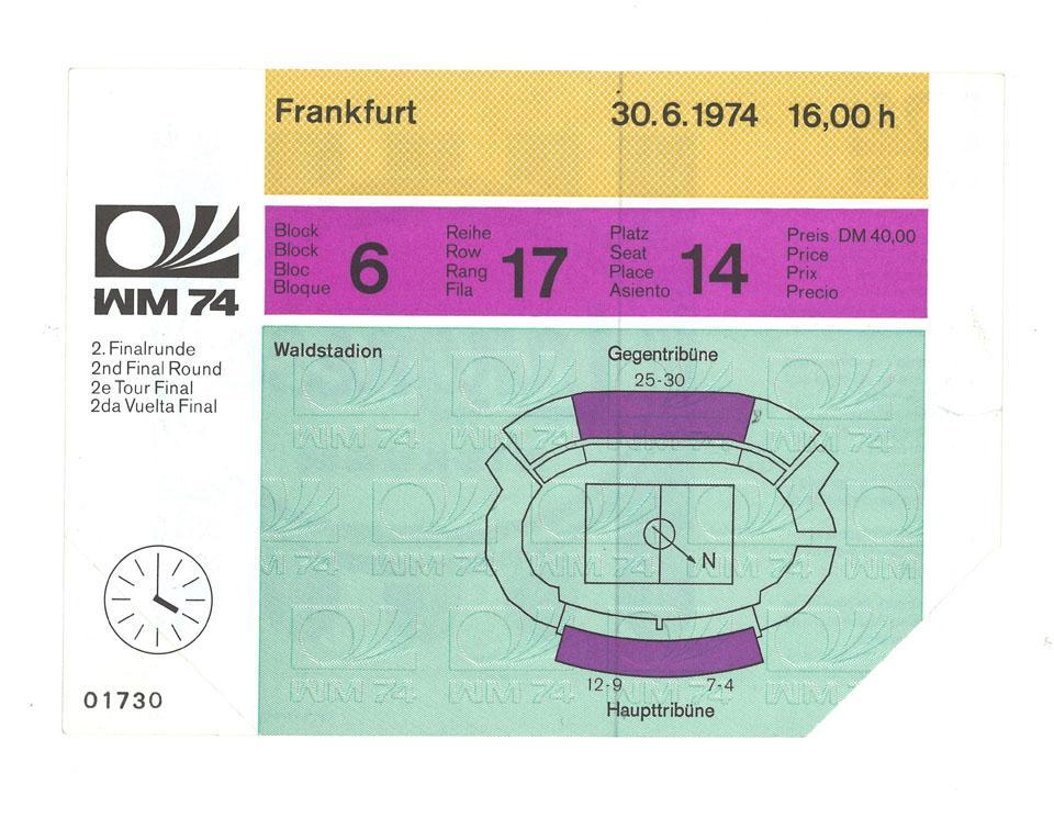 Oryginalny bilet z meczu Polska - Jugosławia (30.06.1974)