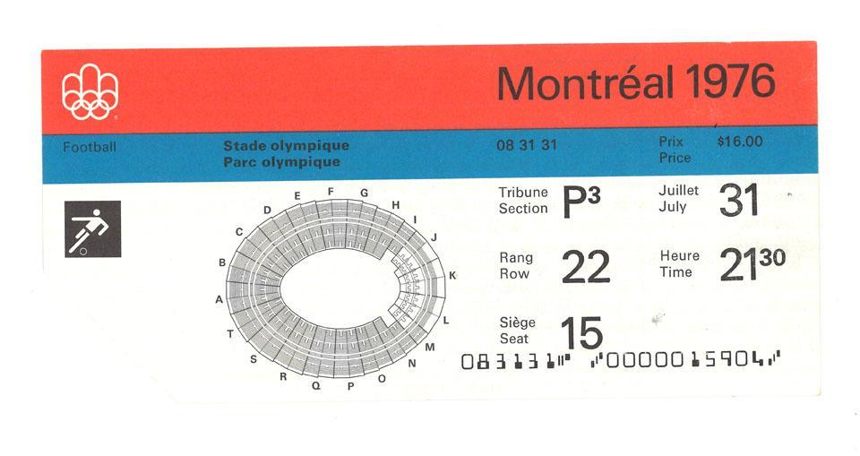 Oryginalny bilet z meczu Polska - NRD (31.07.1976)