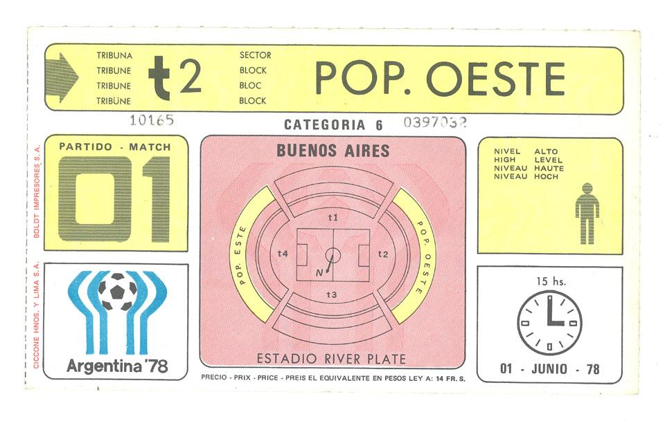 Oryginalny bilet z meczu Polska - RFN (01.06.1978)