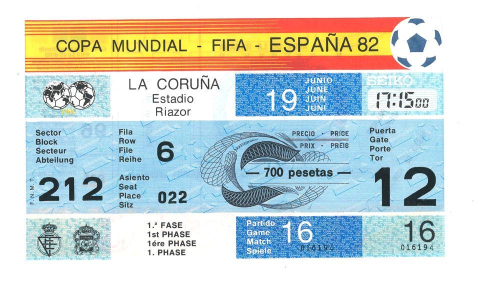 Oryginalny bilet z meczu Polska - Kamerun (19.06.1982)