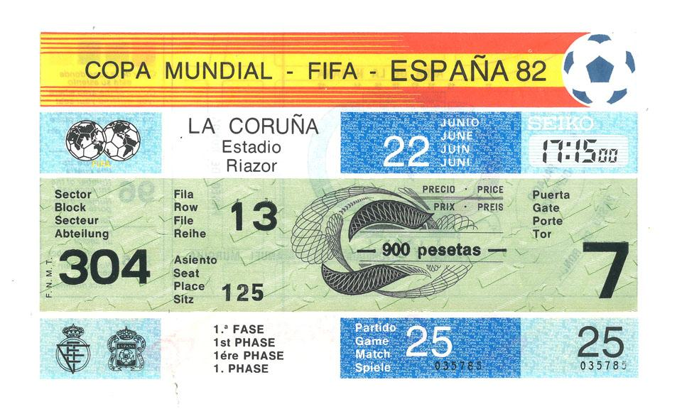 Oryginalny bilet z meczu Polska - Peru (22.06.1982)