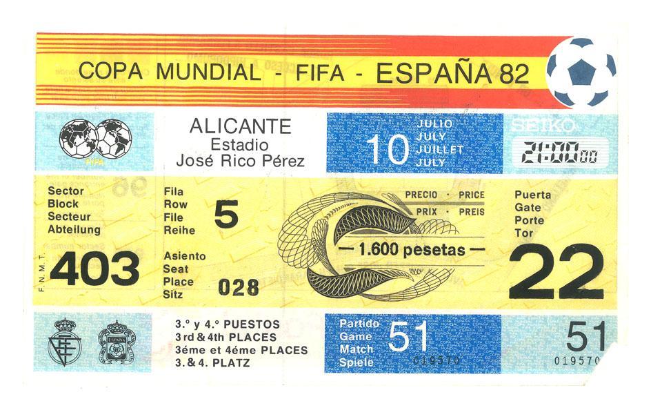 Oryginalny bilet z meczu Polska - Francja (10.07.1982)