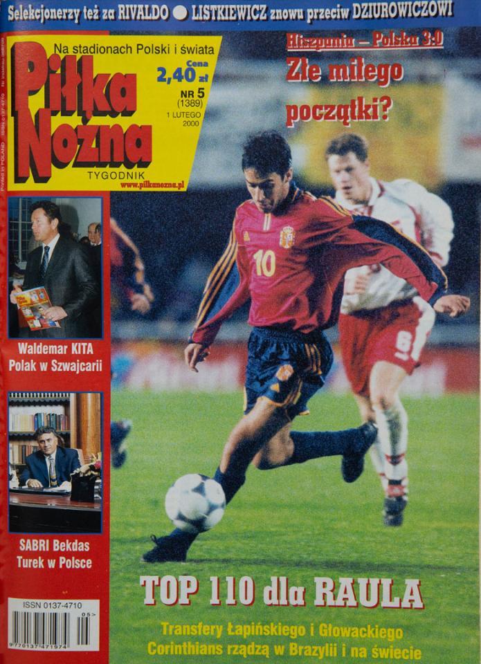 Okładka piłki nożnej po meczu Hiszpania - Polska (26.01.2000)