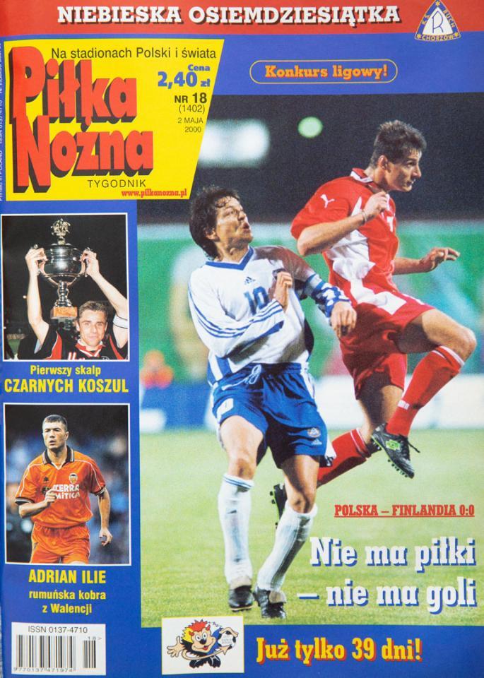 Okładka piłki nożnej po meczu polska - finlandia (26.04.2000)
