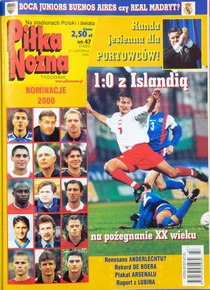 Okładka piłki nożnej po meczu Polska - Islandia (15.11.2000)