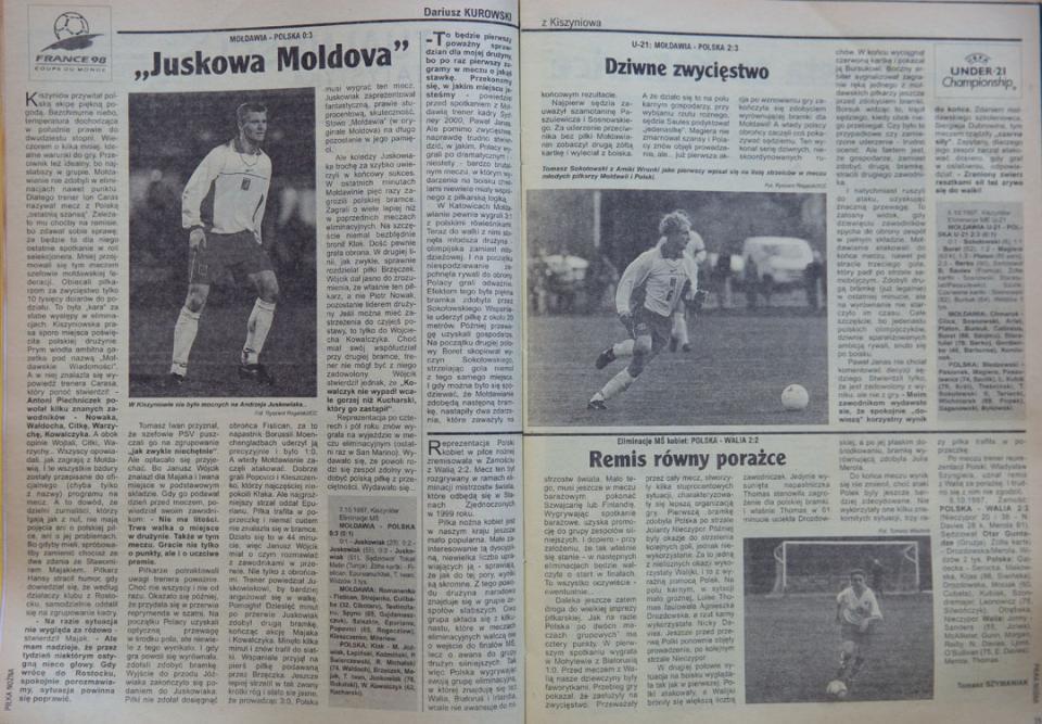 Piłka nożna po meczu mołdawia - Polska (07.10.1997)