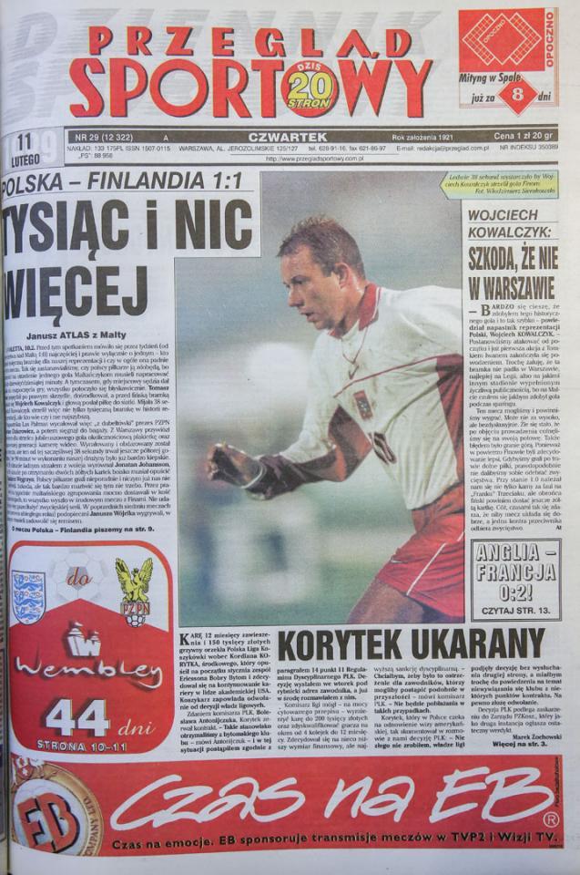 Okładka przeglądu sportowego po meczu polska - finlandia (10.02.1999)