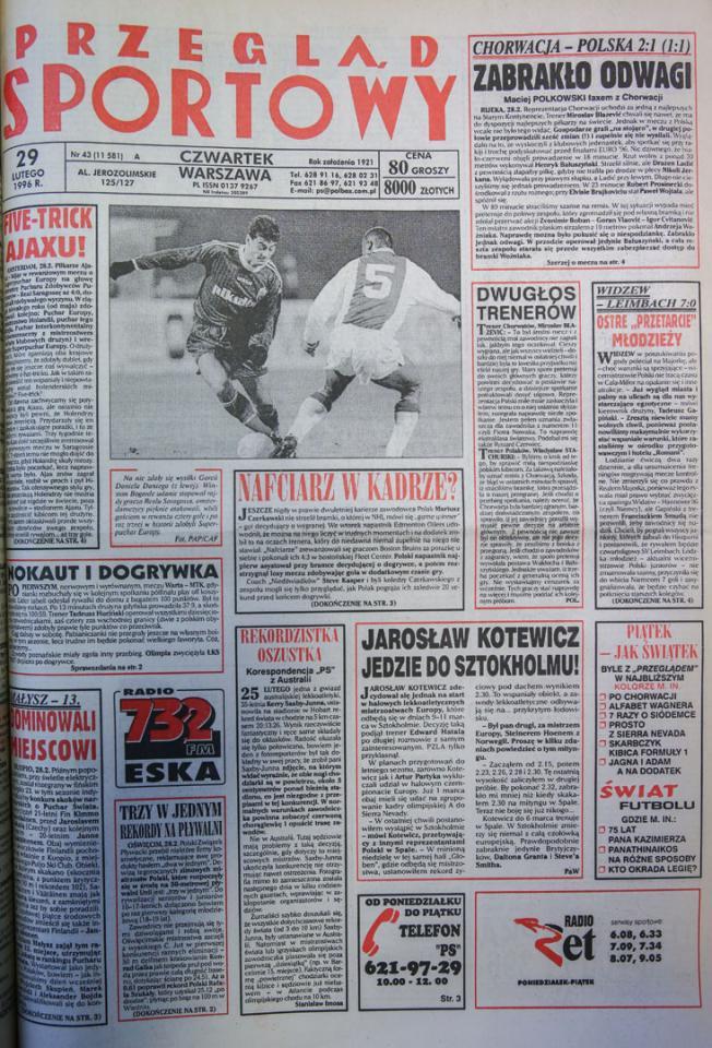 Okładka przeglądu sportowego po meczu Chorwacja - Polska (28.02.1996)