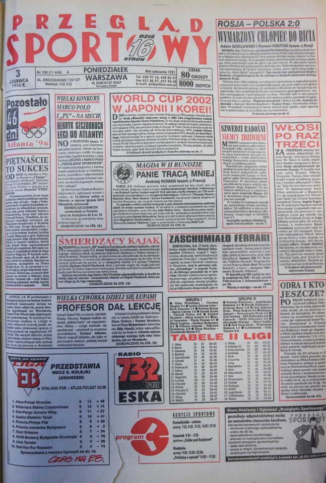 Okładka przeglądu sportowego po meczu rosja - Polska (02.06.1996)