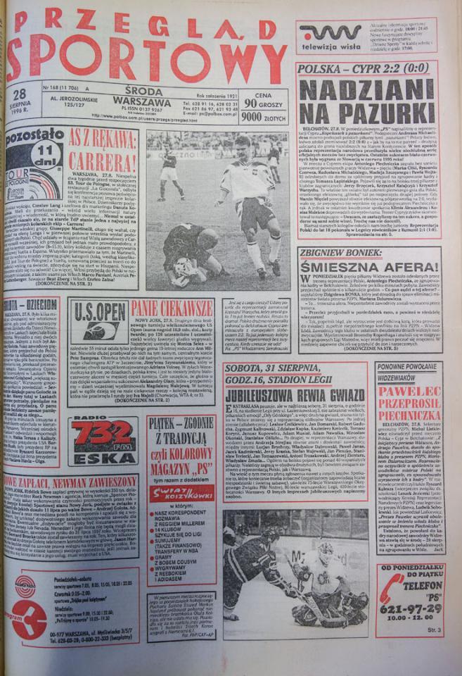 Okładka przeglądu sportowego po meczu Polska - Cypr (27.08.1996)