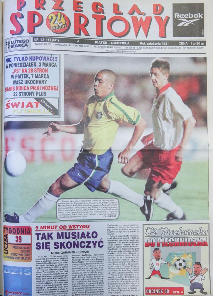 Okładka przeglądu sportowego po meczu brazylia - polska (26.02.1997)